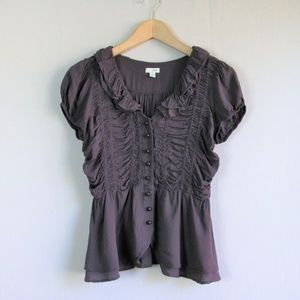Anthropologie Odille purple ruched ruffle blouse